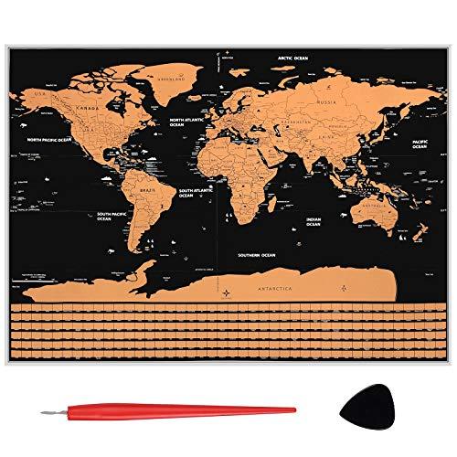 Justech Mapa Mundi Rascar 82 x 59cm Rasguño del Mapa Educativo del Mundo Mapa Mundial de Viaje Mapa Mundi de Pared Grande Mapa del Mundo para Pared con Estados y Banderas de Países