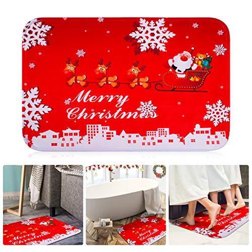 4 PCS Christmas Doormat Winter Snowflakes Christmas elk Non-Slip Bath Area Rugs Soft Floor Mat Outdoor Indoor Door Mat for Home Decoration, Size 15.7x23.7 Inch