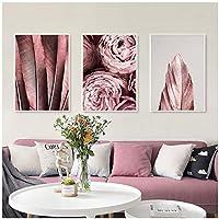 トレンディなポスターフラワーキャンバス絵画ピンクローズライフウォールアートプリントフェザーモダンリビングルームウォール画像70x100cmx3Pcsフレームレス