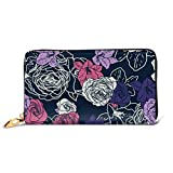 Moda Borsetta Portafoglio con cerniera Seamless Vector Pattern Wallpaper Sfondo Rose Telefono Clutch Purse Pochette da sera Blocking Leather Wallet Multi Ca
