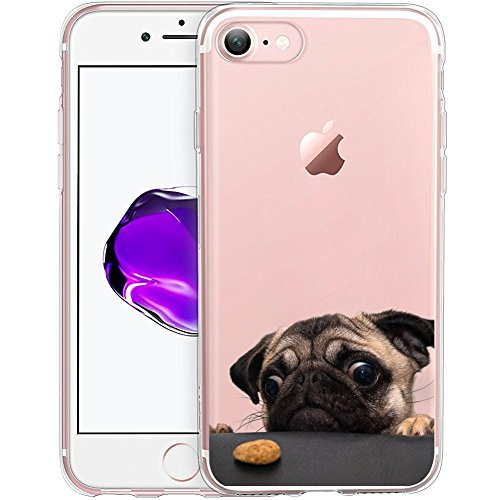 Cute Funny Pug Clear Phone Case for iPhone 8 / iPhone 7 Customized Design by MERVELLE TPU Clear Shock-Proof Protective Case [Ultra Slim, Anti-Slippery]