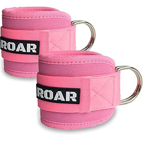 Roar® Tobilleras polea, 2 Tobilleras para Gym, Tobillera para Maquina de polea, Fat gripz Pesas gluteos, Maquina de Gym Pesas, Tobillera para polea.