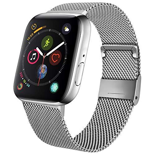 Mugust Metallo Cinturino Compatibile con Apple Watch Cinturino 38mm 40mm 42mm 44mm, Magnetico Cinturini di Ricambio Traspirante in Acciaio Inossidabile per iWatch SE Series 6 5 4 3 2 1 (42/44 mm)