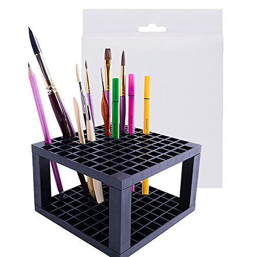 BAKTOONS Paint Brush Holder Organizer, Display Desk Stand for Makeup, Pens, Colored Pencils, 96 Holes