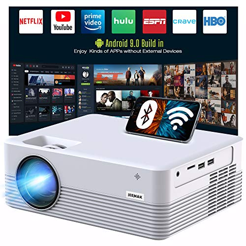 "JEEMAK Smart Projector, Android WiFi Bluetooth Projector, Mini Portable Wireless Projector, 5000 Lux, LED Video Projector for iPhone, HD 1080P Supported and 170"" Display, Outdoor Movie Projector"