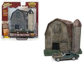 Johnny Lightning 1: 64 Dioramas 2018 Release 4 - Barn Finds: Lost Legends - Old Barn & Silo with 1968 Ford Mustang GT Fastback Faded Highland Green Jlsp059