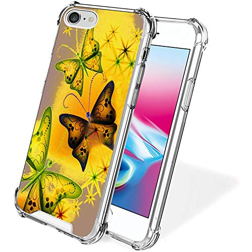 FAUNOW iPhone 7/8/SE2 funda transparente de mariposa de colores bordes de TPU funda de protección para iPhone 7/8/SE2