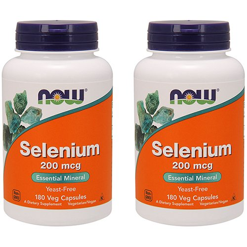 Now Foods Selenium 200 mcg VCaps, 180 Count (Pack of 2)