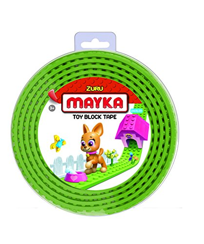 Mayka 34646 - Klebeband für Lego Bausteine, 2 m selbstklebendes Band mit 2 Noppen, leuchtgrünes Bausteinband, flexibles Noppenband zum Bauen mit Legosteinen für Kinder ab 3 Jahre, wiederverwendbar