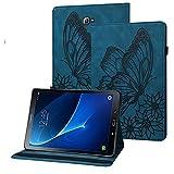 Rostsant Funda Galaxy Tab A6 Carcasa de Cuero PU Billetera Mariposa en Relieve Titular de Pluma Estuche Protector Tablet para Samsung Galaxy Tab A 10.1 Pulgada 2016 SM-T580 / SM-T585 - Azul Marino