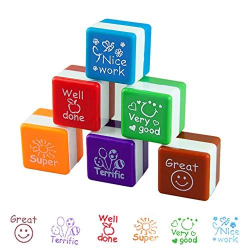 6Pcs Tampons Enseignants, Jeu de tampons pour enseignants, tampons encreurs auto-encreurs Motivation École Classement Super/Très bon/Beau travail/Grandiose/Bien fait