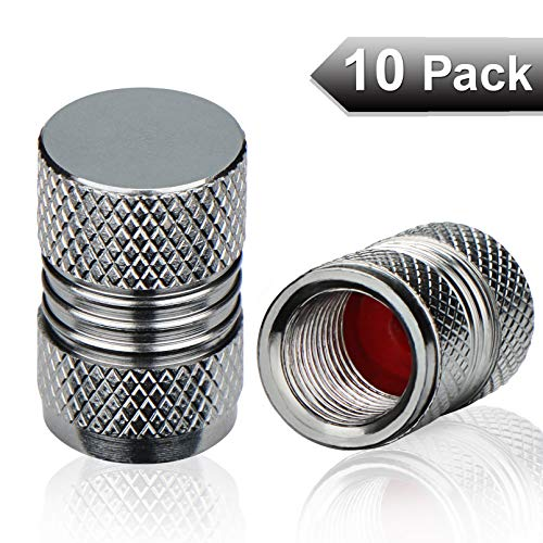 Tire Valve Stem Caps Gray Aluminum Tyre Air Dust Covers with Rubber Seal Universal fit Car, SUV,...