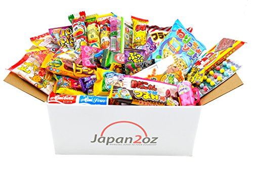 Japanese Candy Box Assortment 40 Dagashi Snacks & Sweets, Gum, Gummies, Ramune