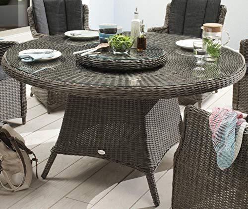 Destiny Gartentisch Luna 150 cm Grau Tisch Polyrattan Geflechttisch Esstisch - Ohne Sessel -