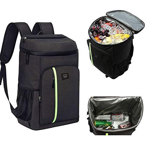 AKT Sac à Dos de Pique-Nique Isolé 30L Grande Capacité Sac Isotherme Etanche Portable Boîte Thermique Alimentaire pour Travel Camping,Black