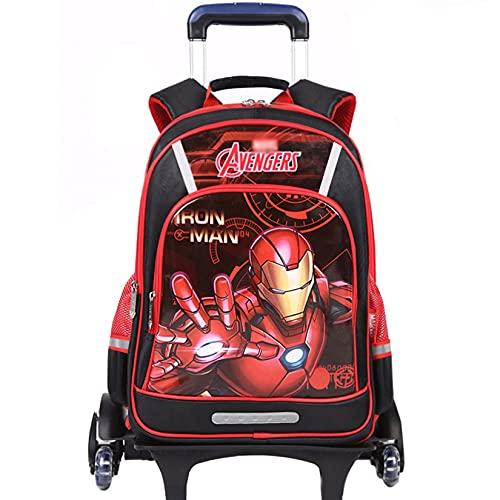 Hflyy Iron Man Mochilas Ruedas Niños Mochilas Superhéroe Kit Almuerzo para Niños Mochilas Estudiantes Mochilas Vintage Mochila Anime Moda Mochila Escolar Estampados Geométricos,Red-43.5 * 31 * 18cm