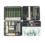 Set de lápices de bosquejo profesional de 70 piezas de lápices de dibujo para escuela, kit de suministros de arte con caja de metal para niños adultos artista bosquejo