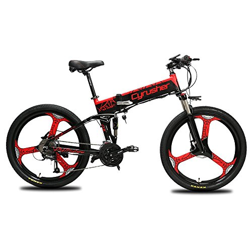 Cyrusher XF770 Mans Folding Electric Bike 17 X 26 inch Mountain Bike Full Suspension 500 Watt 48V 10ah 21Speeds with Power Off Anti-Slip Mechanical Disc Brake and Smart Bike Computer (Red)