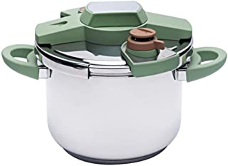 Stainless Steel Pressure Cooker Slow Cooker, 4L/6L Large Capacity Household Induction Cooker Gas Stove Universal Electric Pressure Cooker Rice Cooker Safe Quick (Color : Green, Size : 6L)