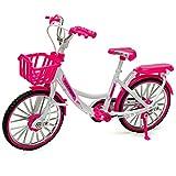 alles-meine.de GmbH 2 Stück _ große - Fahrräder / Bike - E-Bike mit Korb - rosa / pink & weiß - 18 cm - stabiles Metall - Modell Maßstab: 1:10 - Deko & Spielen - Dekofahrrad - fü.. -