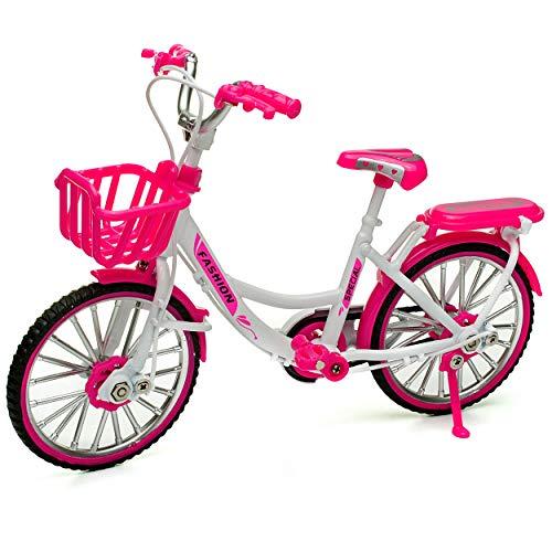 alles-meine.de GmbH großes - Fahrrad / Bike - E-Bike mit Korb - rosa / pink & weiß - 18 cm - stabiles Metall - Modell Maßstab: 1:10 - Deko & Spielen - Dekofahrrad - für Kinder & ..
