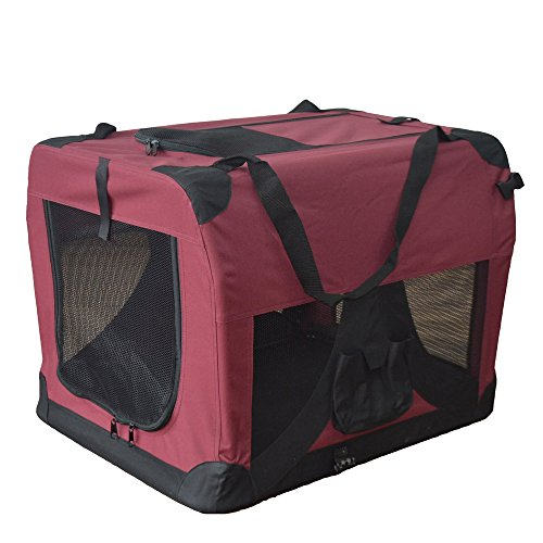 TIGGO Hundetransportbox Hundebox faltbar Transportbox Autotransportbox Faltbox Transportasche 601-D02 Farbe: Marrone, Grösse: XL - 81cm x 58cm x 58cm