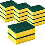 DecorRack 14 Cleaning Scrub Sponges for Kitchen, Dishes, Bathroom, Car Wash, One Scouring Scrubbing One Absorbent Side, Abrasive Scrubber Sponge Dish Pads, Heavy Duty, Green Yellow (Pack of 14)