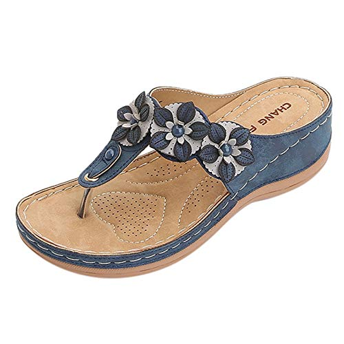 Xmiral Flip-Flop Damen Schnellverschluss Keilsandale Open-Toe Atmungsaktiv Blumen Schuhe Sandale(37,Blau)
