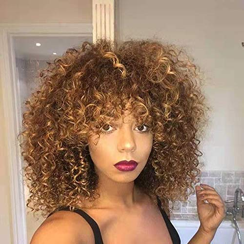 Pruik Korte Afro Kinky Krullend Pruiken voor Vrouwen Synthetisch Haar Blond en Bruin Afro Pruik met Pruik Cap Synthetische Lange Afro Kinky Krullend Pruiken voor Zwarte Vrouwen