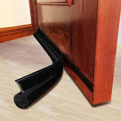 "MAXTID Adjustable Door Draft Stopper 36"" Black Door Noise Blocker Seal Strip Front Draft Blocker for Bottom of Door"