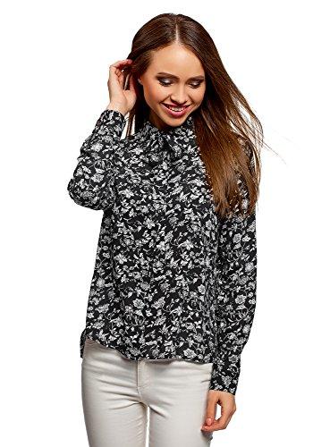 oodji Ultra Mujer Blusa de Viscosa con Lazos Decorativos