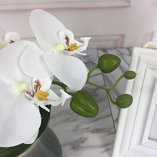 LIVILAN Artificial OrchidFlowersLargeFakeWhiteOrchid Artificial Flowers with PotSilkOrchidsPlantOrquidea ArtificialPhalaenopsis Orchidwith Ceramic Grey VaseIndoor Decor Table Decoration