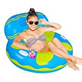 Inflatable Pool Float,Lake Float,Air Sofa Floating Chair,Ideal for Adults and Children for Water Parties and Water Recreation,with Very deep Drink Holders(Sofa-Blue)