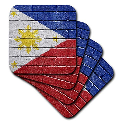 3dRose cst_156968_3 National Flag of Philippines Painted Onto a Brick Wall Filipino-Ceramic Tile Coasters, Set of 4
