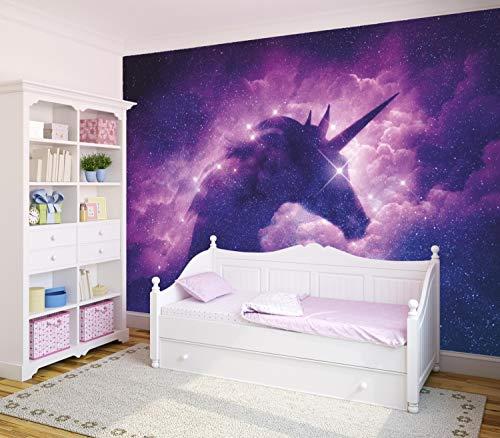 Vlies Tapete XXL Poster Fototapete Einhorn Sterne Glitzer lila Farbe color, Größe 200 x 150 cm