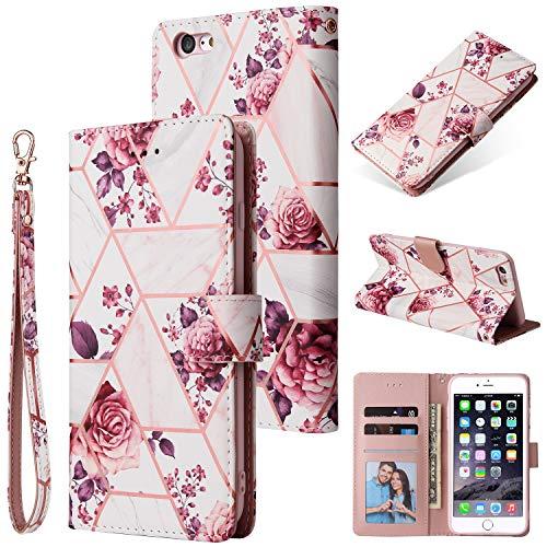 Shinyzone Custodia Compatibile con iPhone 6S Plus Libro con Porta Carte,Cover Pelle iPhone 6 Plus Portafoglio Flip Stand TPU Antiurto Protettiva Caso,Marmo Doratura Rose