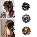 2021 Fashion Hair Clips Expandable Pony Tail Holders Hair Ties Birdnest Hair Clip Ponytail Hairpin Curling Iron Bun Maker Hair Styling Tool Claw Hair Clips For Woman Girls Hair Accessories(3 colors A)