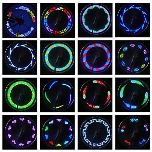 Ettzlo Luces LED para Ruedas de Bicicleta, 14 LED, luz de radios para neumáticos, Luces para Ruedas de Bicicleta, luz de Seguridad Impermeable, llanta para Bicicleta de montaña, Bicicleta Plegable