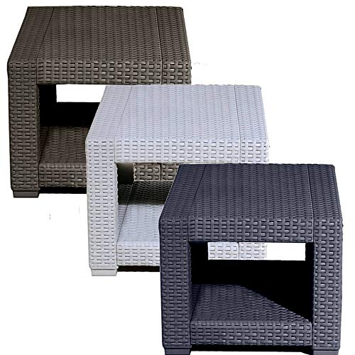 Trueshopping Square Rattan Effect Coffee Side Table - Weatherproof Outdoor Garden Furniture for Garden, Patio, Decking, Balcony or Conservatory - Fade Resistant, Easy Assembly & Wipe Clean