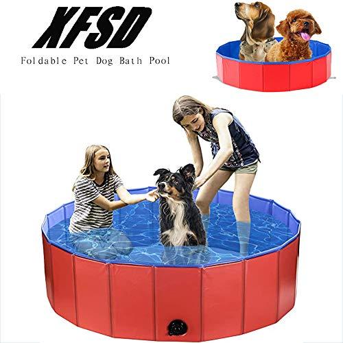 Faltbarer Pool aus Hartplastik Faltbarer großer Pool Badewanne Kiddie Baby Pool für Kinder, tragbarer PVC-Klappspeicher, auslaufsicherer und rutschfester Boden für kleine Welpen, Katzen und Kinder