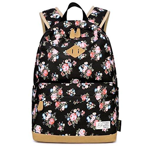 HITOP Vintage Mode Damen Accessories Schwarz Blumen Leinwand Einfache Tasche Schultertasche Freizeitrucksack Rucksäcke (schwarz)