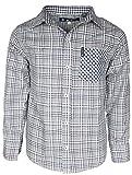 Ben Sherman Boys Long Sleeve Button Down Shirt, Blue Plaid, Medium / 10-12