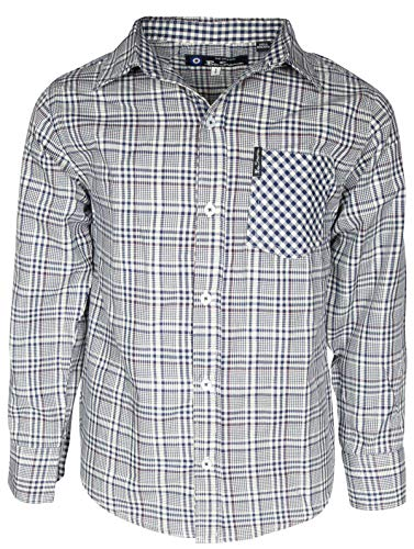 Ben Sherman Boys Long Sleeve Button Down Shirt, Blue Plaid, Medium / 10-12
