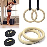 Pair of Wooden Gymnastic Olympic Gym Adjustable Rings Hoops For Crossfit Strength Workout