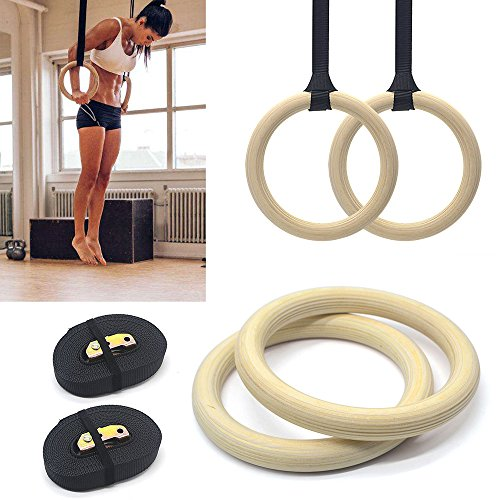Wooden Gymnastic Rings Adjustable Pair Olympic Crossfit Gym Strength Training
