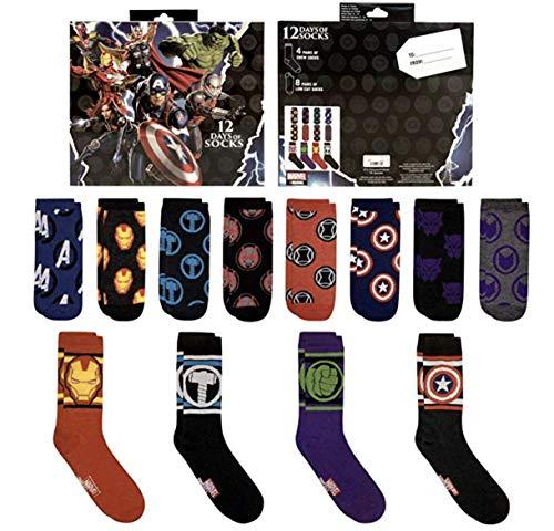 Marvel 12 Days Of Socks Advent Calendar Set (Mens 6-12)