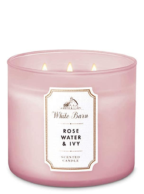 White Barn by Bath & Body Works 3-Wick Candle in Rose Water & Ivy (2019)