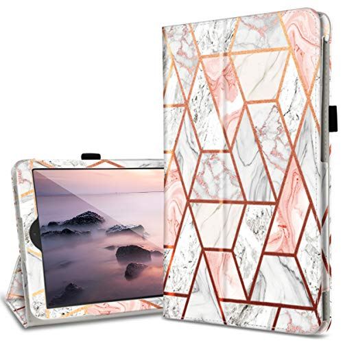 Fingic Galaxy Tab A 10.1 Case 2019 T510/T515/T517 PU Leather Marble Design Ultra Slim Fit Folio Stand Smart Cover Case for Samsung Galaxy Tab A 10.1 Inch 2019 Tablet SM-T510 SM-T515 SM-T517, Rose Gold