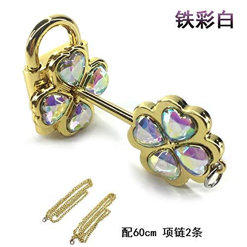 SHOUSHIZHIJIA Crystal Guardian Sweetheart-Halskette mit Anhänger und Paar-Halskette, Eisenfarbe weiß, Anhänger 5-6 cm, Halskette 60 cm