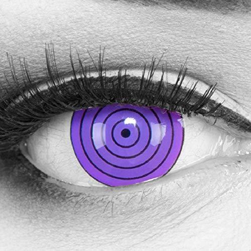 Meralens 1 Paar Farbige Anime Manga Kontaktlinsen Ohne Stärke mit gratis Kontaktlinsenbehälter - Sharingan Violet Rinnegan in lila perfekt zu Hereos of Cosplay Naruto Halloween 12 Monatslinsen
